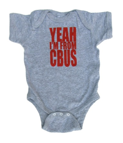 'Yeah I'm From CBUS' in Red on Heather Grey Onesie