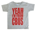 'YEAH I'M FROM CBUS' in Red on Heather Grey Toddler Tees