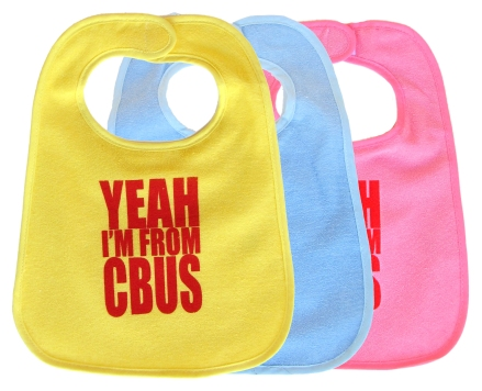 'YEAH I'M FROM CBUS' in Red on Multiple Bibs (Yellow, Light Blue, Light Pink)