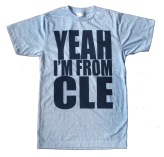 'Yeah I'm From CLE' in Black on Athletic Blue Tee