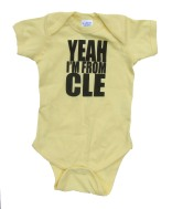 'YEAH I'M FROM CLE' in Black on Banana Yellow Rabbit Skins Onesie