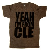 'YEAH I'M FROM CLE' in Black on Heather Brown Unisex Tee