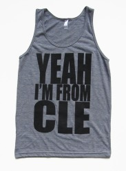 'Yeah I'm From CLE' in Black on Heather Grey American Apparel Tank