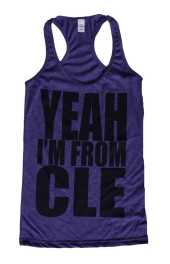 'Yeah I'm From CLE' in Black on Heather Purple Racerback Tank