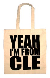 'YEAH I'M FROM CLE', in Black on Natural Tote
