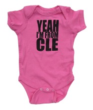 'YEAH I'M FROM CLE' in Black on Raspberry Pink Rabbit Skins Onesie