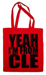 'YEAH I'M FROM CLE', in Black on Red Tote