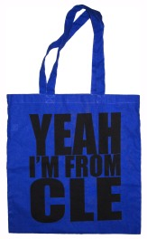 'YEAH I'M FROM CLE', in Black on Royal Blue Tote