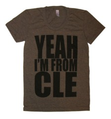 'YEAH I'M FROM CLE' in Black on Tri-Coffee American Apparel Ladies Track Tee