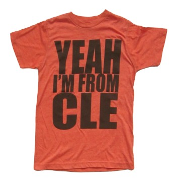 'Yeah I'm From CLE' in Brown on Heather Orange Unisex Tee