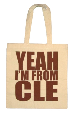 'YEAH I'M FROM CLE' in Brown on Natural Tote