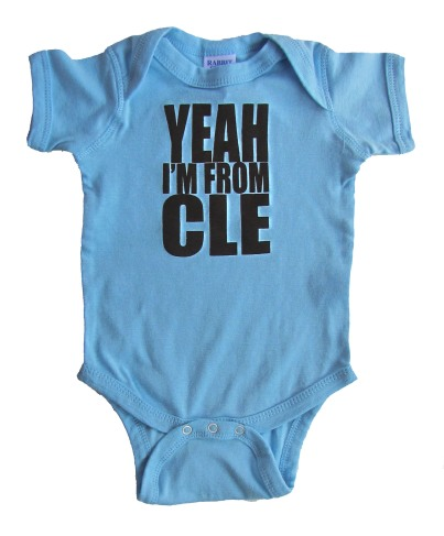 'Yeah I'm From CLE' in Dark Brown on Light Blue Rabbit Skins Onesie