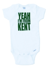 'Yeah I'm From Kent' in Green on White Onesie