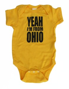 'YEAH I'M FROM OHIO' in Black on Gold Rabbit Skins Onesie