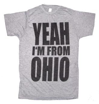 'YEAH I'M FROM OHIO' in Black on Heather Grey Unisex Tee
