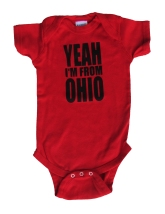 'YEAH I'M FROM OHIO', in Black on Red Onesies