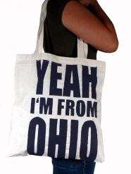 'Yeah I'm From Ohio', in Dark Grey on Natural Tote