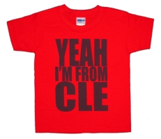 'YEAH I'M FROM OHIO' in Navy Blue on Red Toddler Tees