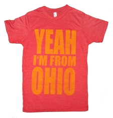 'YEAH I'M FROM OHIO' in Yellow on Heather Red Unisex Tee