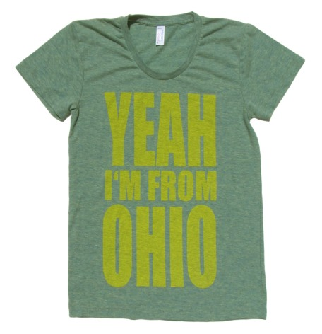 'YEAH I'M FROM OHIO' in Yellow on Tri-Lemon American Apparel Ladies Track Tee