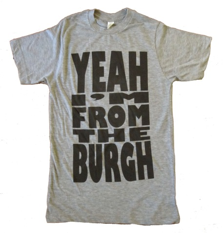 'YEAH I'M FROM THE BURGH' in Black on Heather Grey Unisex Tee