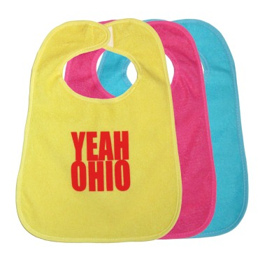 'YEAH OHIO' in Red on Multiple Bibs (Yellow, Dark Pink, Teal Blue)