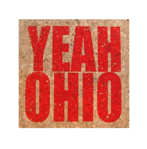 'YEAH OHIO' in Red on Square Cork Coasters