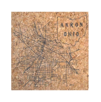 'Akron 1916 Map' in Graphite Grey on Square Cork Coasters (Detail)