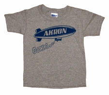 'Akron Blimp' in Blue on Heather Grey Toddler Tees