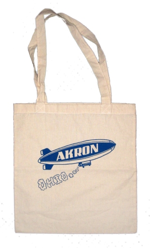 'Akron Blimp' in Blue on Natural Tote