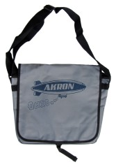 'Akron Blimp' in Dark Blue on Grey Messenger Bag