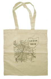 'Akron Map (1916)' in Graphite Grey on Natural Tote