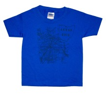 'Akron Map (1916)' in Graphite Grey on Royal Blue Toddler Tee