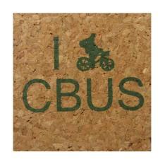 'I (Bike) CBUS' in Green on Natural 4'' x 4'' Cork Coasters
