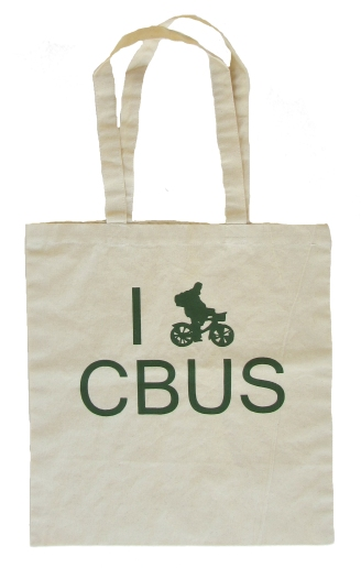 'I (Bike) CBUS', in Green on Natural Canvas Tote