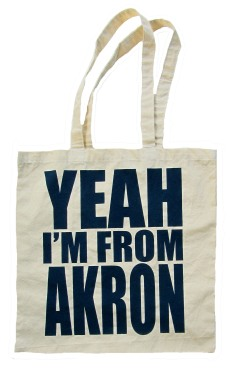 'YEAH I'M FROM AKRON', in Dark Blue on Natural Tote