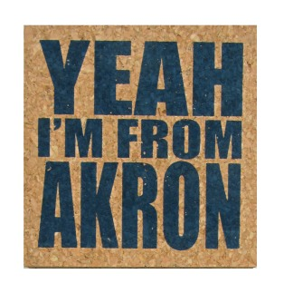 'YEAH I'M FROM AKRON' in Dark Blue on Square Cork Coasters