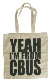 'YEAH I'M FROM CBUS', in Dark Grey on Natural Tote