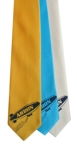 'Akron Blimp' on Multiple Neckties (Gold Bar, Turquoise, Silver)