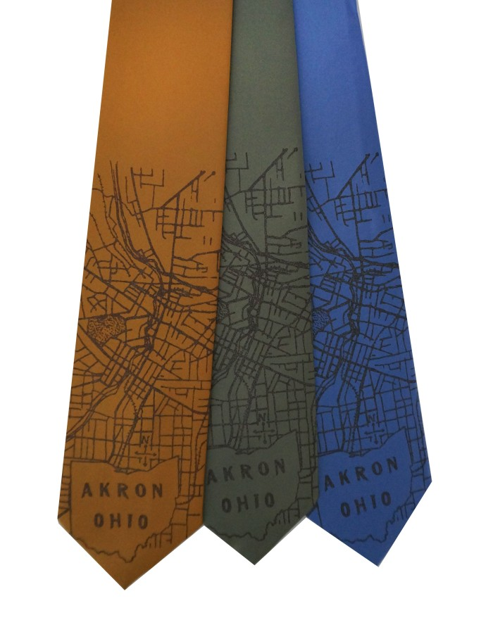 'Akron Ohio 1916 Map' on Multiple Neckties
