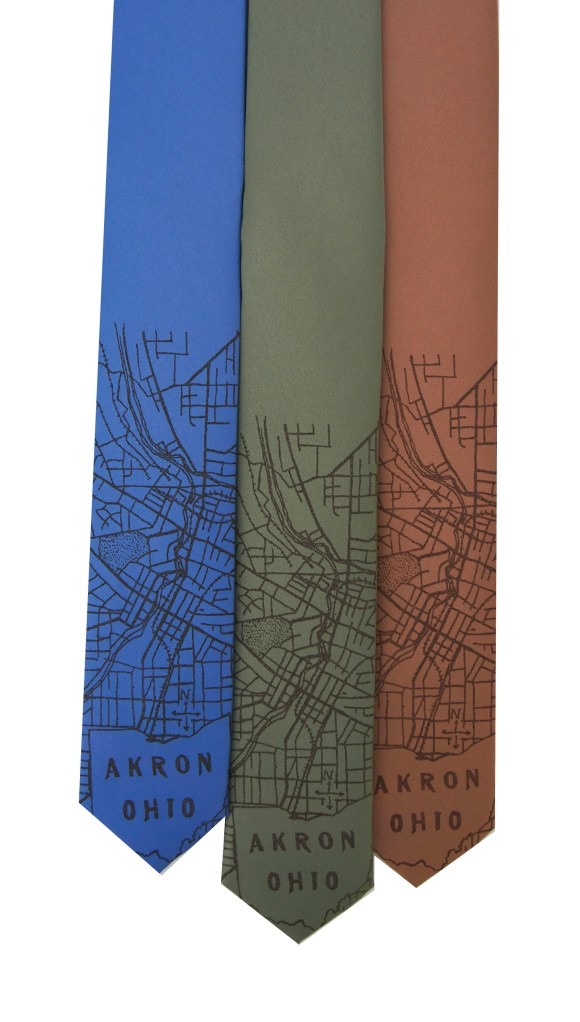 'Akron Ohio 1916 Map' on Multiple Skinny Neckties
