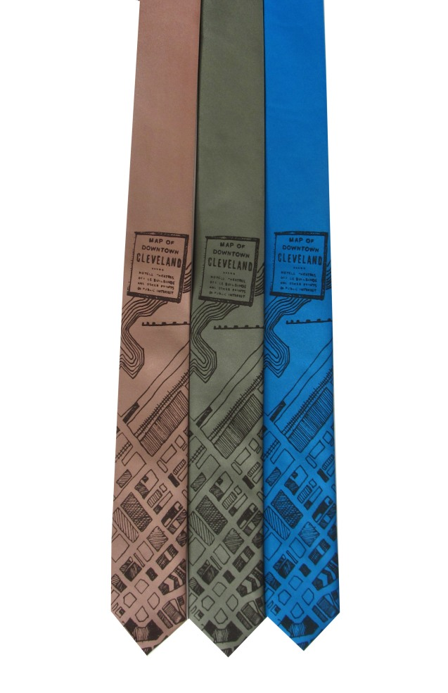 'CLE Downtown 1942 Map' on Multiple Skinny Neckties