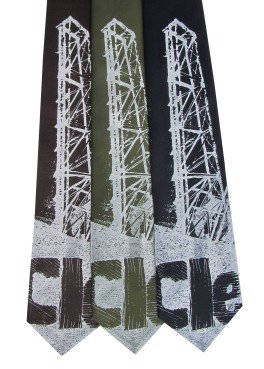 'Cleveland Bridges' in White on Multiple Neckties