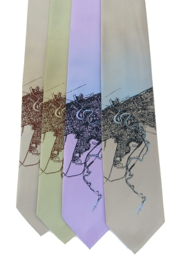 'Cleveland Map (Halftone Lake)' in Multiple Colors on Multiple Neckties