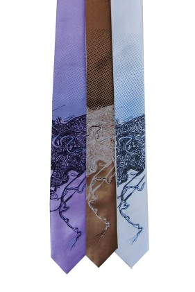 'Cleveland Map (Halftone Lake)' on Multiple Skinny Neckties