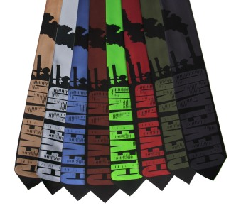 'Cleveland Smokestacks' in Black on Multiple Neckties