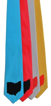 'Ohio State' on Multiple Neckties (Turquoise, Red, Silver, Gold Bar)