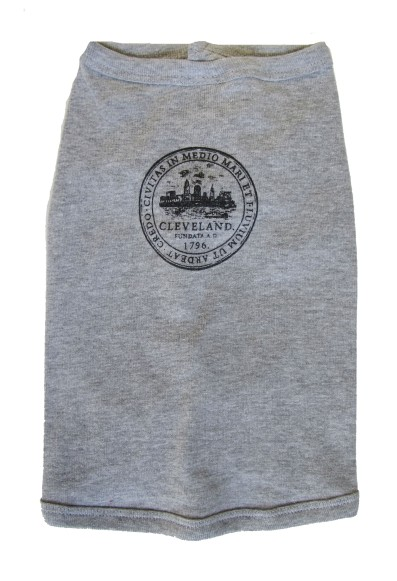 'City Seal' in Shimmer Black on Heather Grey Dog Tee (Front)