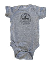 'City Seal' in Shimmer Black on Heather Grey Onesie