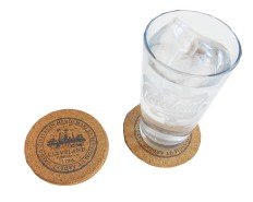 'City Seal' in Shimmer Black on Round Cork Coaster (Installed)